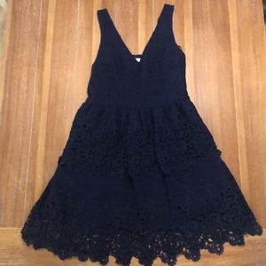 Navy blue layered lace dress!